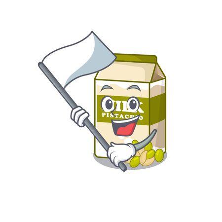 Funny pistachio milk cartoon character style holding a standing flag. Vector illustration 일러스트