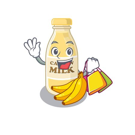 A friendly rich cashew milk waving and holding Shopping bag. Vector illustration Ilustracja