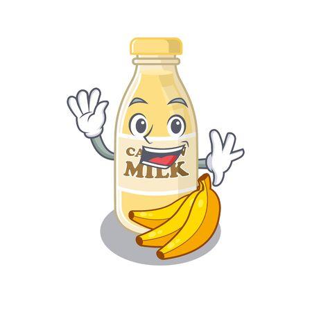 Waving friendly cashew milk mascot design style. Vector illustration Ilustracja
