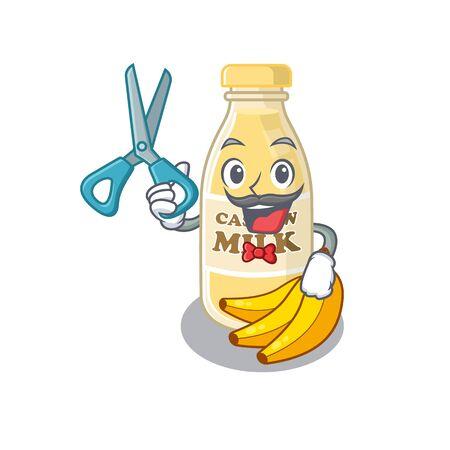 Cartoon character of Sporty Barber cashew milk design style. Vector illustration
