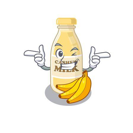 Cute mascot cartoon design of cashew milk with Wink eye. Vector illustration Ilustracja