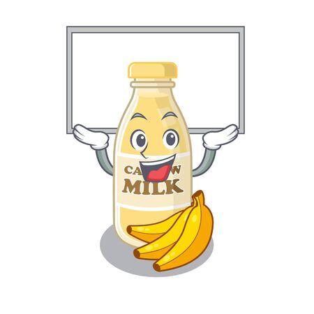 A cashew milk mascot picture raised up board. Vector illustration