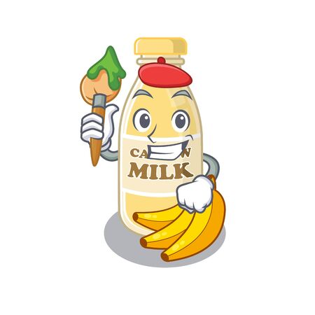 A cute picture of cashew milk as an Artist having a brush. Vector illustration