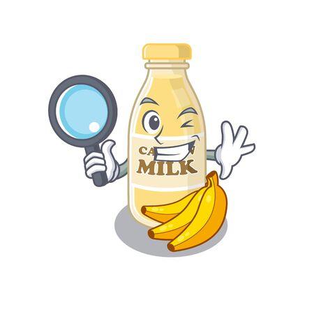 Elegant and Smart cashew milk Detective cartoon design concept. Vector illustration Ilustracja