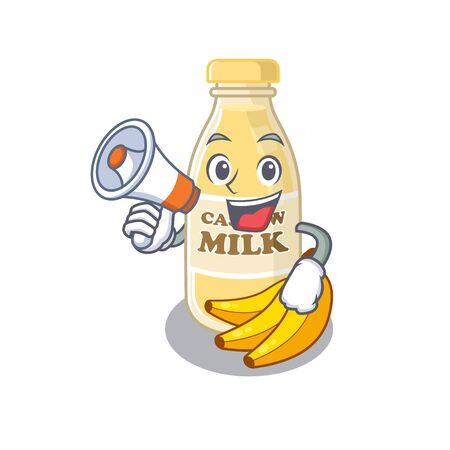 A mascot of cashew milk speaking on a megaphone. Vector illustration
