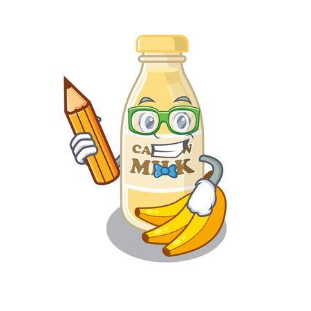 A smart Student cashew milk character holding pencil. Vector illustration Ilustracja
