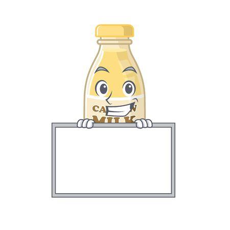 Cashew milk cartoon design concept grinning with board. Vector illustration