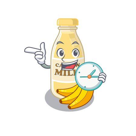 cartoon character concept cashew milk having clock. Vector illustration