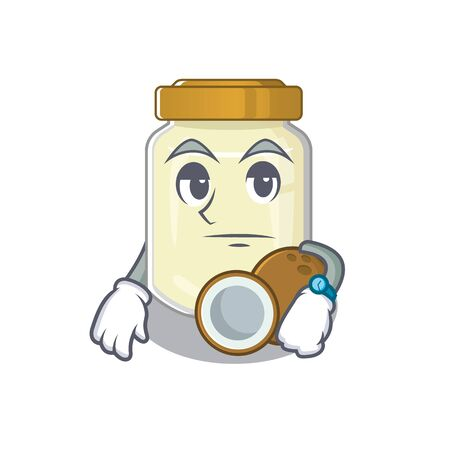 cartoon character design of coconut butter on a waiting gesture
