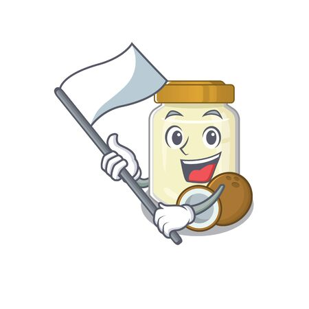 Funny coconut butter cartoon character style holding a standing flag