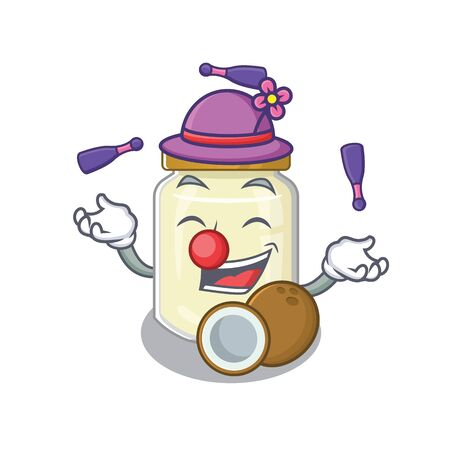 a lively coconut butter cartoon character design playing Juggling