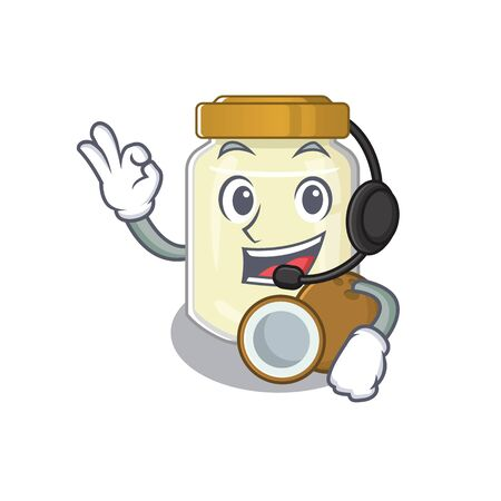 Happy coconut butter mascot design style wearing headphone