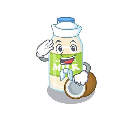 Coconut milk cartoon concept Sailor wearing hat