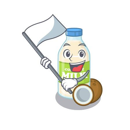 Funny coconut milk cartoon character style holding a standing flag