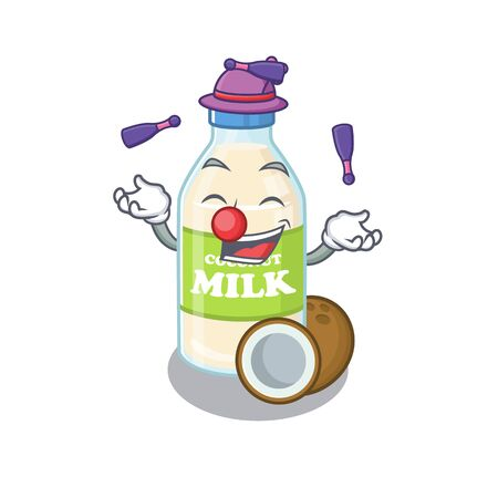 a lively coconut milk cartoon character design playing Juggling Vectores
