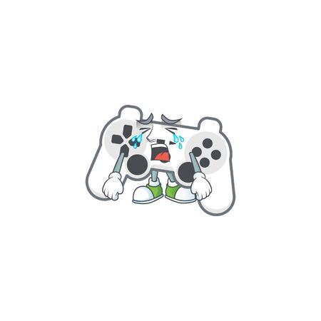A crying white joystick mascot design style