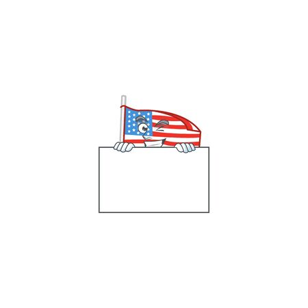USA flag with pole cartoon character with funny face hides behind a board