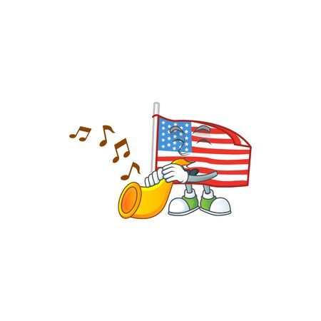 cartoon character style of USA flag with pole playing a trumpet