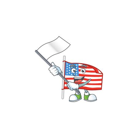 Funny USA flag with pole cartoon character design with a flag