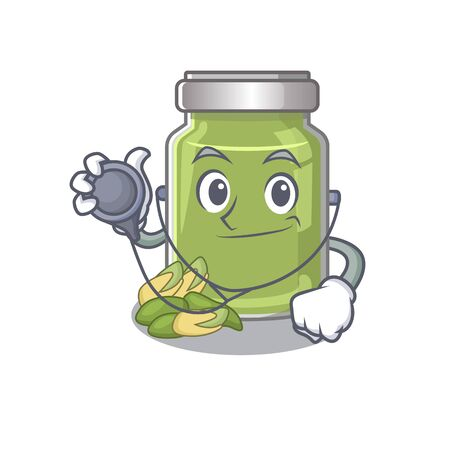A mascot picture of pistachio butter cartoon as a Doctor with tools