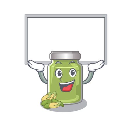 A pistachio butter mascot picture raised up board