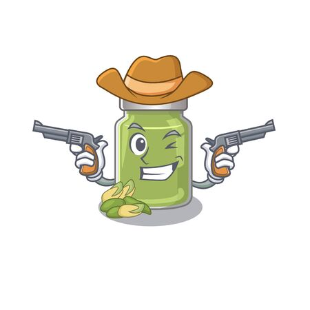 Pistachio butter Cowboy cartoon concept having guns