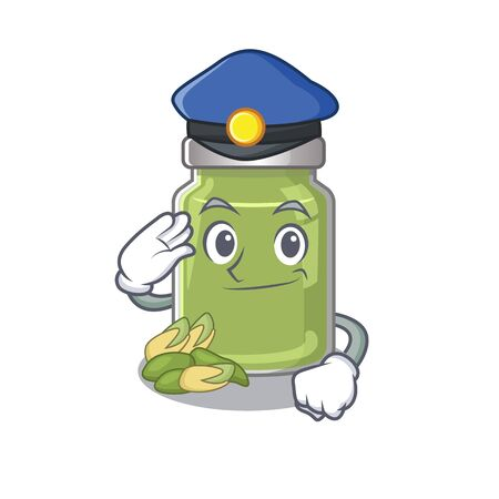 A manly pistachio butter Cartoon concept working as a Police officer