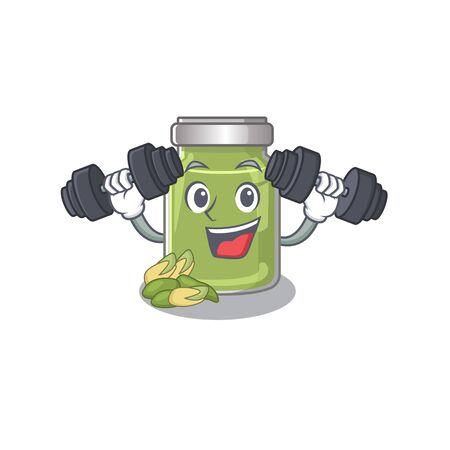 Sporty Fitness exercise pistachio butter mascot design using barbells