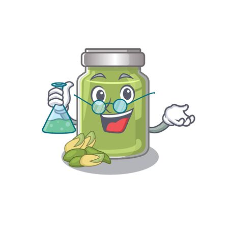 Cool pistachio butter Professor cartoon character with glass tube. Vector illustration Illustration