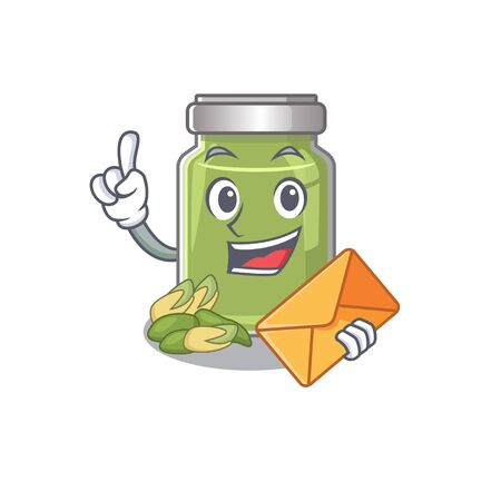 Happy face pistachio butter mascot design with envelope. Vector illustration