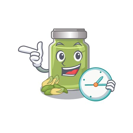 cartoon character concept pistachio butter having clock. Vector illustration Illustration