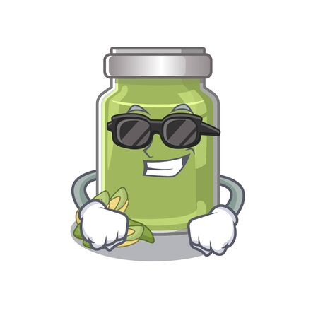 Super cool pistachio butter character wearing black glasses. Vector illustration