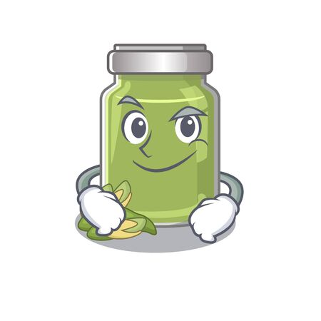 Cool pistachio butter mascot character with Smirking face. Vector illustration