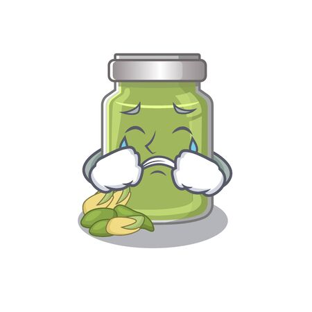 Pistachio butter cartoon character concept with a sad face. Vector illustration Illustration