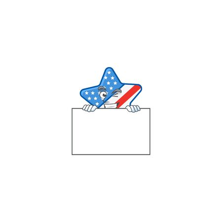 USA star cartoon character with funny face hides behind a board