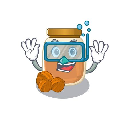cartoon character of walnut butter wearing Diving glasses. Vector illustration