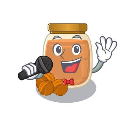 Happy walnut butter singing on a microphone. Vector illustration