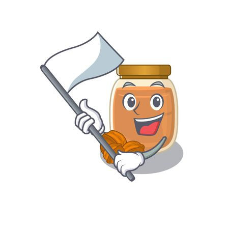Funny walnut butter cartoon character style holding a standing flag. Vector illustration 일러스트