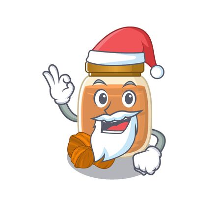 Walnut butter in Santa cartoon character style with ok finger. Vector illustration