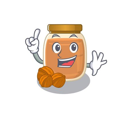 mascot cartoon concept walnut butter in One Finger gesture. Vector illustration