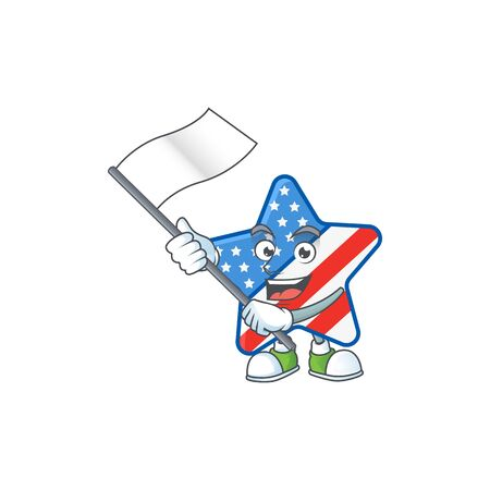 Funny USA star cartoon character design with a flag