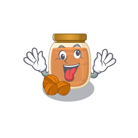 Cute sneaky walnut butter Cartoon character with a crazy face. Vector illustration