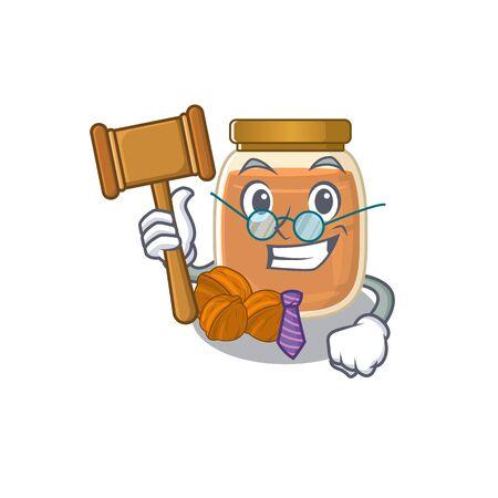 Smart Judge walnut butter in mascot cartoon character style. Vector illustration Ilustrace
