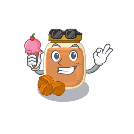happy face walnut butter cartoon design with ice cream. Vector illustration