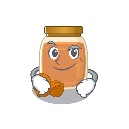 Cool walnut butter mascot character with Smirking face. Vector illustration