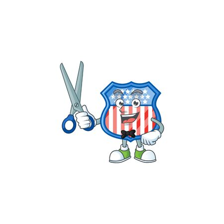 Happy smiling barber shield badges USA mascot design style