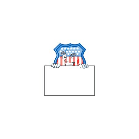 Shield badges USA cartoon character with funny face hides behind a board