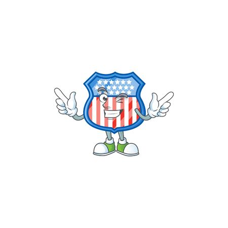 A comical face shield badges USA mascot design with Wink eye