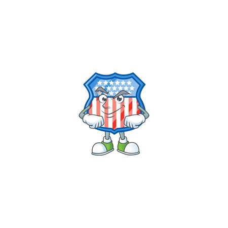 Shield badges USA mascot icon design style with Smirking face