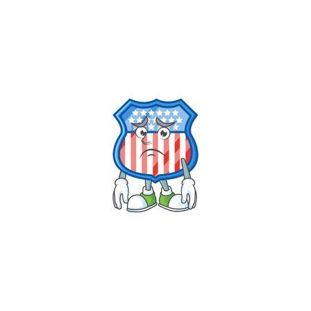 Cartoon character of a shield badges USA having an afraid face